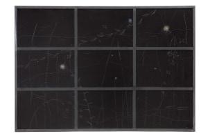 Vincenzo Agentti, Vetrata, graffi su carta fotografica esposta con l'aggiunta del colore in un telaio di ferro, cm 91x129, 1981