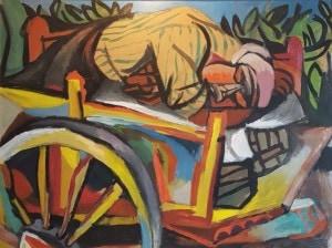 Renato Guttuso-Carrettiere siciliano addormentato-olio su carta intelata-75 x 100-1946