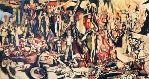 Renato Guttuso-I martiri- olio, tempera, inchiostro di china su carta intelata - 162 x 300 - 1954