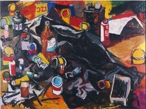 Renato Guttuso-Lo studio dell'Artista-olio su tela-100 x 130-1963