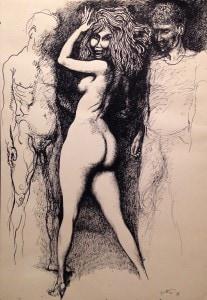 Renato Guttuso- Marta, Renato e Rocco-china su carta, 73,7 x 51-1971