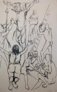 Renato Guttuso-Studio per Crocifissione-china su carta, 33,5 x 22-1940