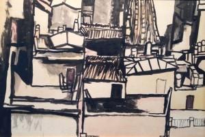 Renato Guttuso-Tetti-china acquerellata su cartone-34 x 50-1961